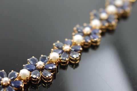 22k Jewelry Solid Gold ELEGANT Blue Sapphire Flower Stone Bracelet Size 7  B354 | Royal Dubai Jewellers