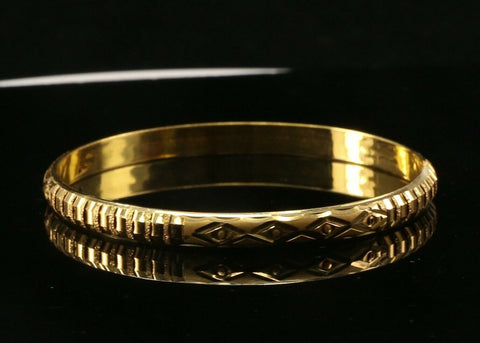 22k Bangle Solid Gold Simple Charm Diamond Cut Design Size 2-1/4 inch B1247 | Royal Dubai Jewellers