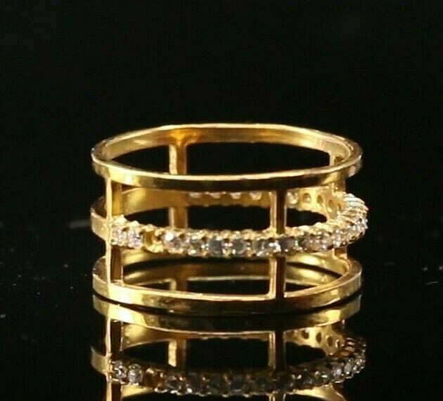 22k Ring Solid Gold ELEGANT Charm Triple Rings Band  SIZE 7.5
