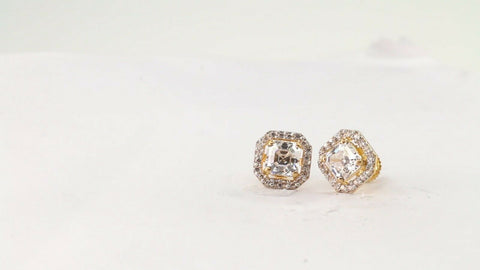 22k Earring Solid Gold ELEGANT Simple Studs With Stones Design E6014 | Royal Dubai Jewellers
