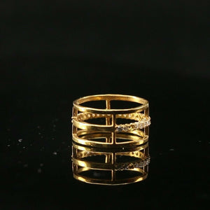 "22k Ring Solid Gold ELEGANT Charm Triple Rings Band  SIZE 7.5 ""RESIZABLE"" r2139"