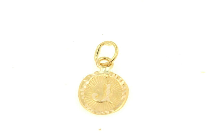 22k 22ct Solid Gold Charm Letter J Pendant Oval Design p1134 ns | Royal Dubai Jewellers