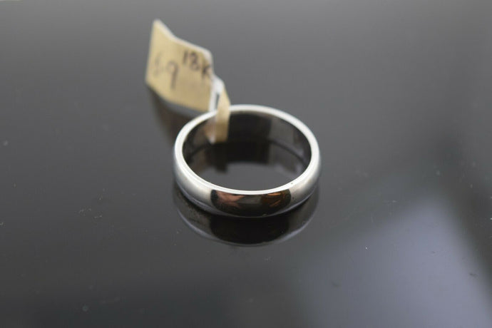 18k Ring Solid Gold Ring Simple White Gold Plain Curve Band R1969