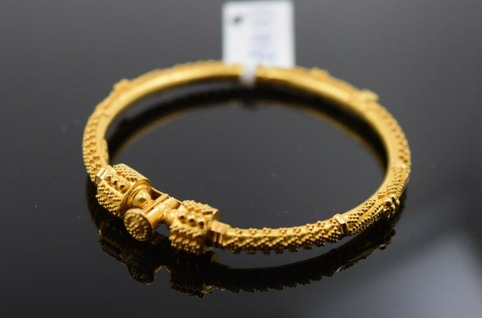 22k Solid Gold ELEGANT BABY CHILDREN BANGLE Classic Diamond Cut Design cb1173
