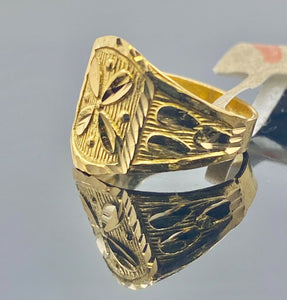 22k Ring Solid Gold Children Jewelry Simple Geometric Floral Design R2180z