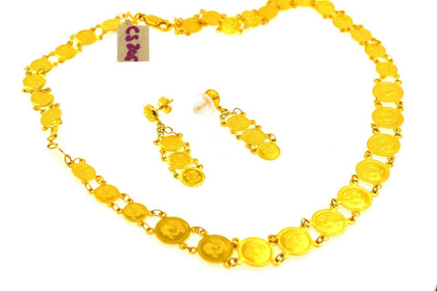 22k Necklace Set Beautiful Solid Gold Ladies Infinity Rose Coin Design CS205