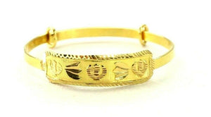 22k Bangle Solid Gold Simple Children Religious Sikh Diamond Cut Bangle cb1311