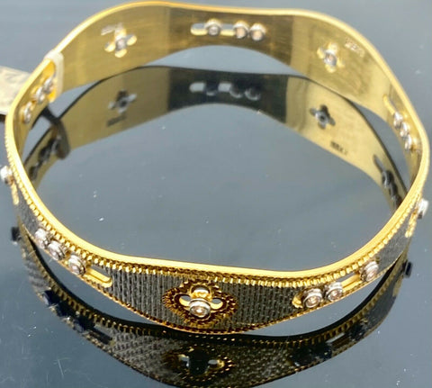 22k Bangle Solid Gold Elegant Ladies Floral Two Tone Dancing Bangle Design B426