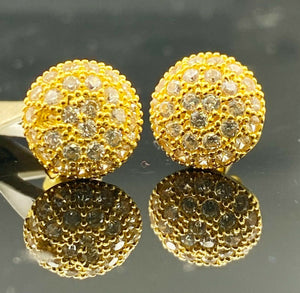 22k Earring Solid Gold Simple Round Shape With Stones Design E6584 - Royal Dubai Jewellers