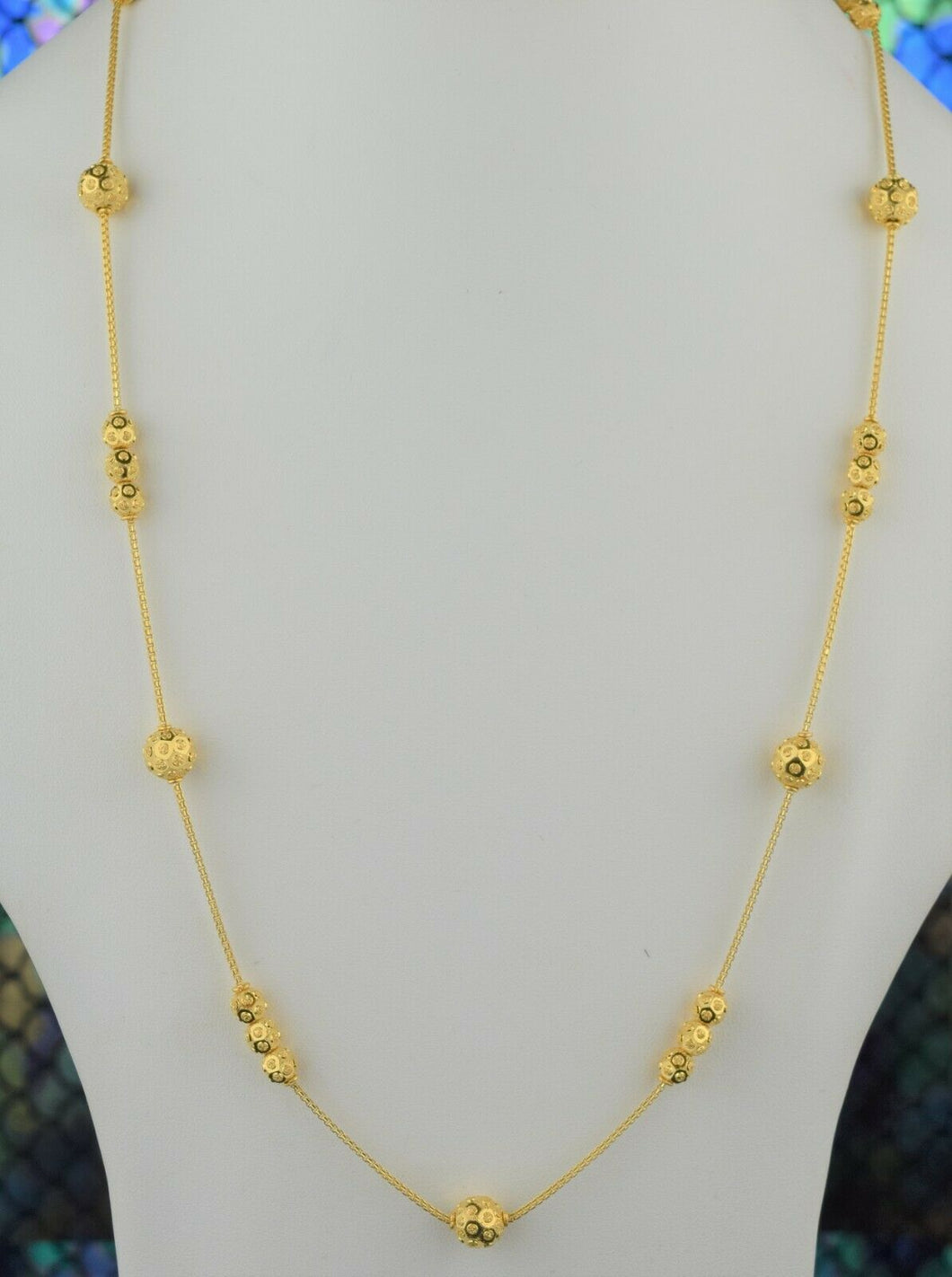 22k Chain Solid Gold Ladies Elegant Snake And Beads Link Design C049