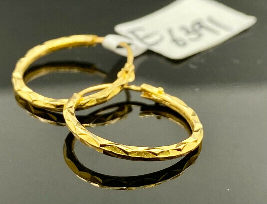 22k Earrings Solid Gold Ladies Jewelry Simple Hoops with Diamond Cutting E6391