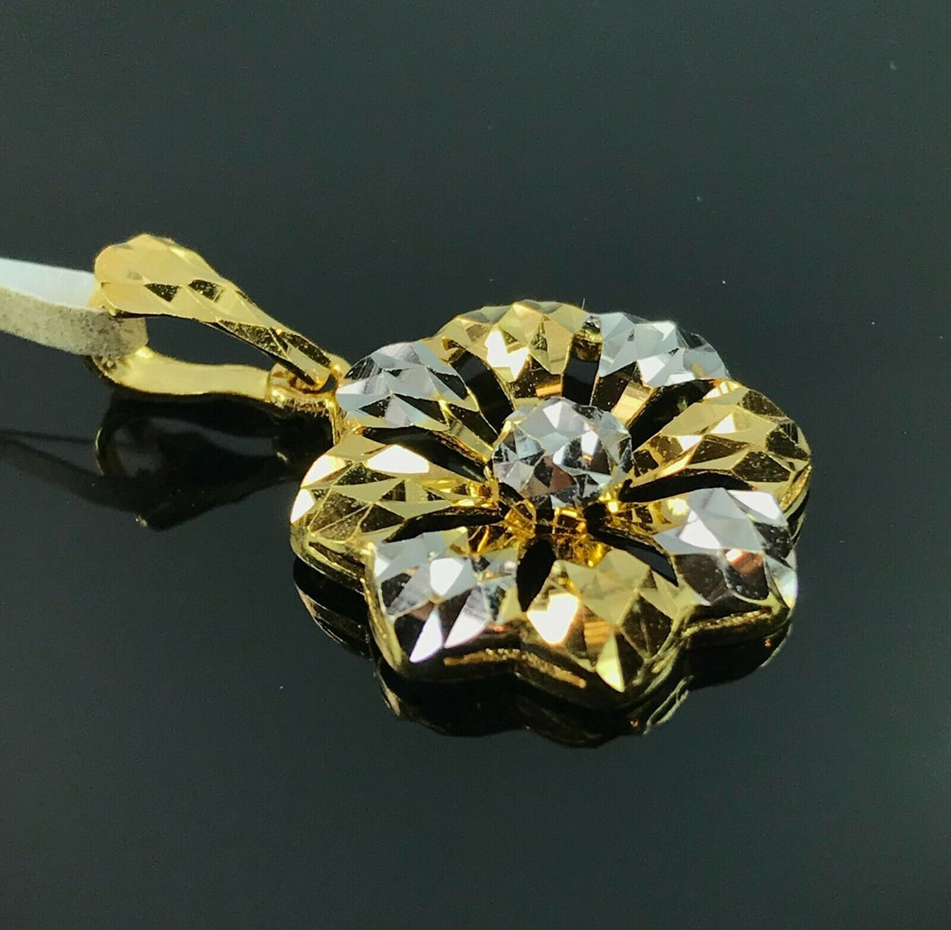 22k Pendant Solid Gold Ladies Jewelry Elegant Two Tone Floral Design P3052z - Royal Dubai Jewellers