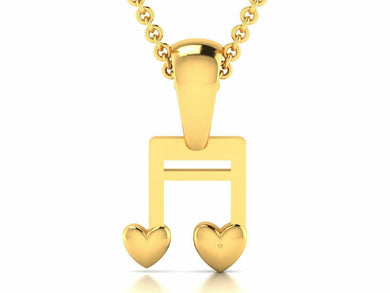 22k Pendant Solid Yellow Gold Ladies Jewelry Elegant Music Note Design GP15