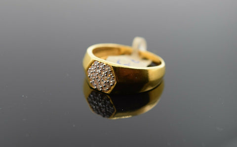 22k Ring Solid Gold Ring Men Hexagon Sigma Design With Stone Encrusted R3132