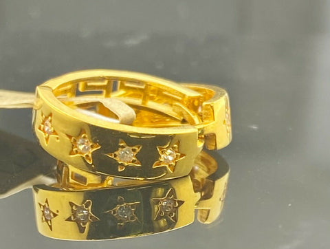 22k Earring Solid Gold Ladies Hoops Clip On with Star Pattern Design E6421