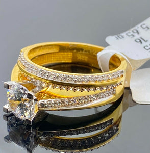 22k Ring Solid Gold Ladies Jewelry Simple Solitaire Design With Band R2131