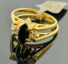 22k Ring Solid Gold Ladies Jewelry Two In One Design with Onyx Stone R2149z