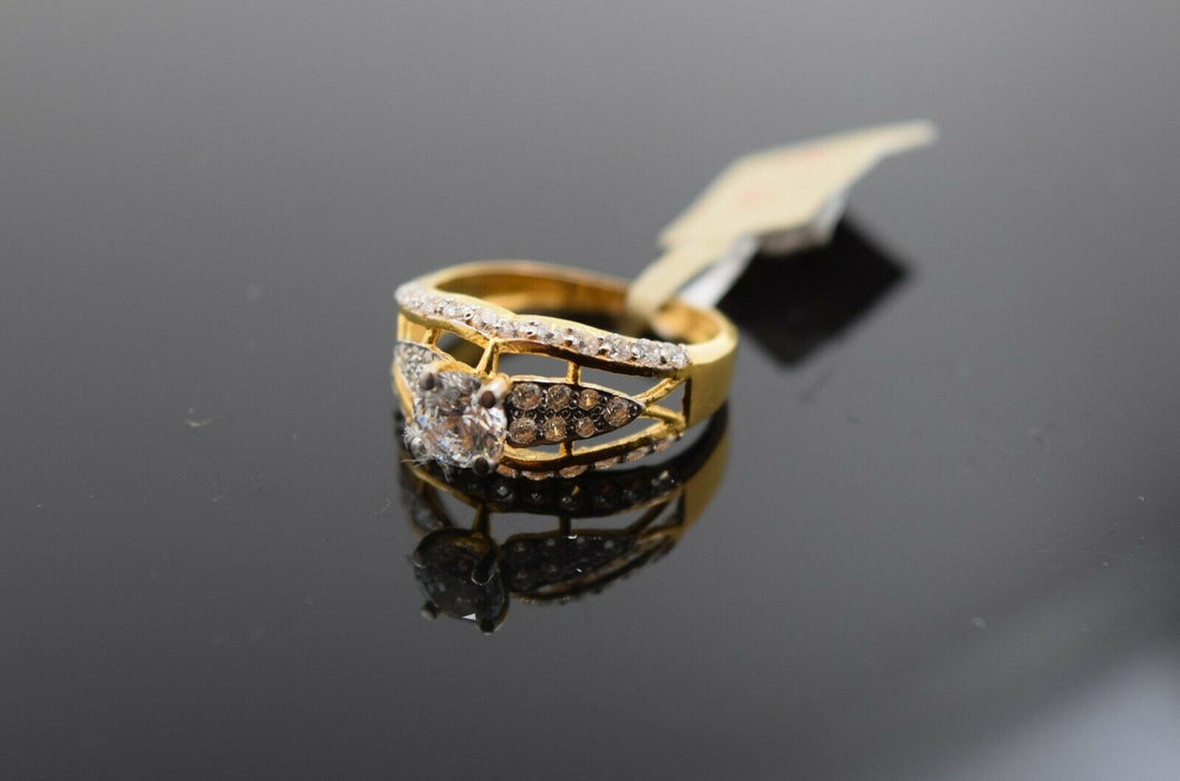 22k Ring Solid Gold Ring Ladies Jewelry Modern Design With Stones R1682