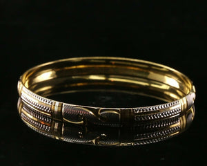 22k Bangle Solid Gold Simple Modern Charm Two Tone Design Size 2.38 inch B1198