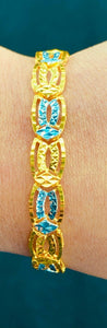 22k Bracelet Solid Gold Ladies Jewelry Simple Two Tone Geometric Pattern B298 - Royal Dubai Jewellers