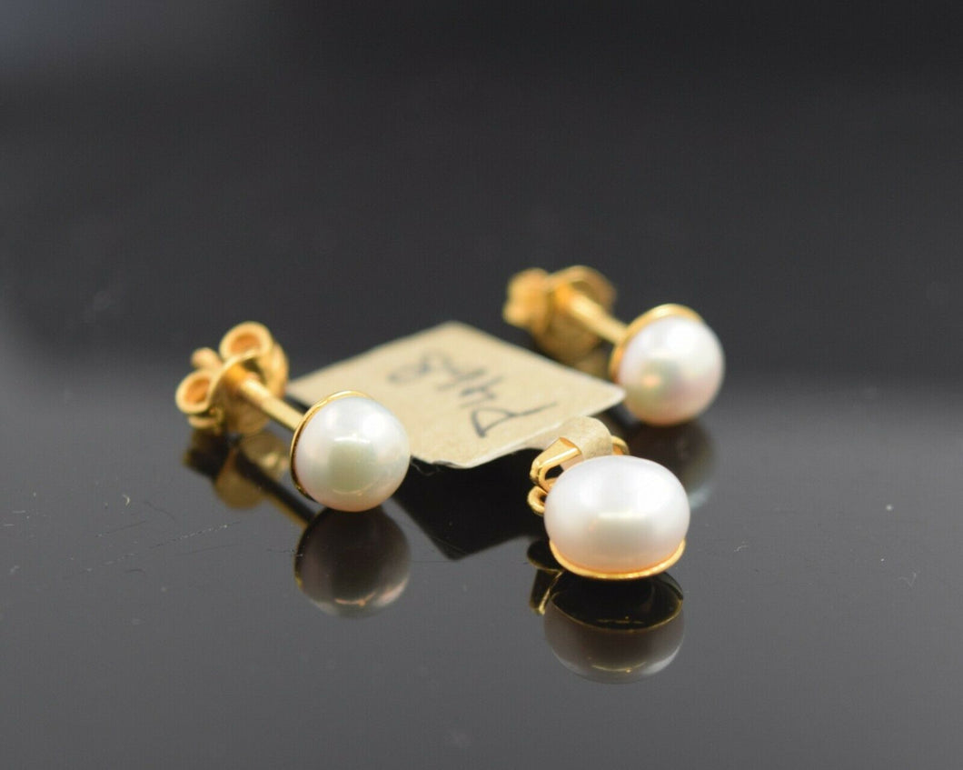22k Pendant Set Solid Gold Ladies Jewelry Simple Pearl Design P468