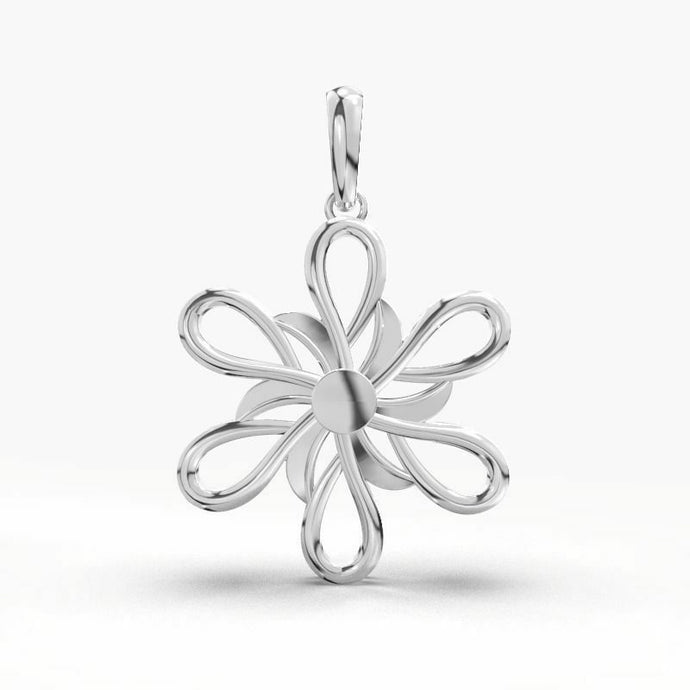 18k Solid White Gold Ladies Jewelry Elegant Floral Pendant CGP35W
