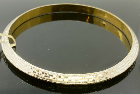 22k Bangle Solid Gold Simple Two Tone High Polished Design B430