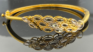 21k Bracelet bangle Solid Gold Ladies Two tone with Dimond cut Design B 542 - Royal Dubai Jewellers