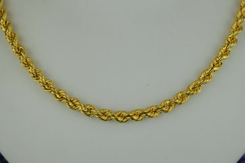 22k Chain Solid Gold Simple Elegant Thick Rope Link Design C01 - Royal Dubai Jewellers