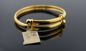 22k Solid Gold ELEGANT BABY CHILDREN BANGLE Simple Adjustable Design cb1391