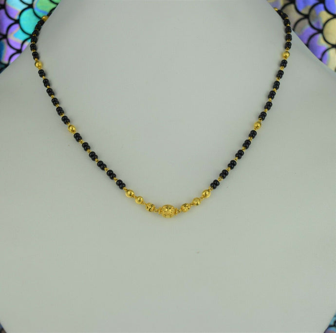 22k Mangalsutra Solid Gold Traditional Ladies Beads Necklace Design C3032
