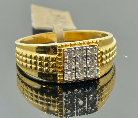 22k Ring Solid Gold Men Jewelry Simple Square Signet Design with Stones R2167