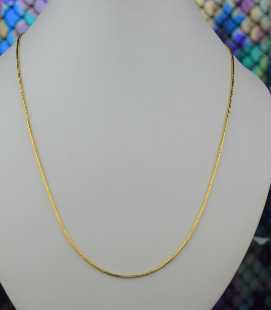 22k Chain Solid Gold Simple Elegant Glossy Snake Link Design C3492 - Royal Dubai Jewellers