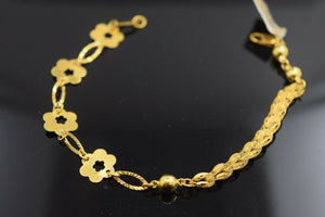 22k Bracelet Solid Gold Ladies Jewelry Simple Floral Filigree Design BR1063 - Royal Dubai Jewellers