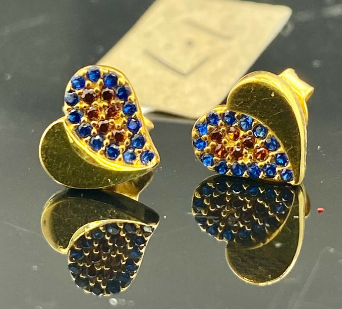 22k Earring Solid Gold Simple Heart Shape With Color Stones Design E6581 - Royal Dubai Jewellers