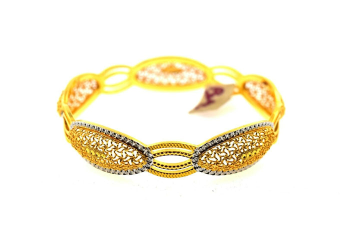 22k Solid Gold Ladies Bangle Elegant Two tone Mess Design br90z