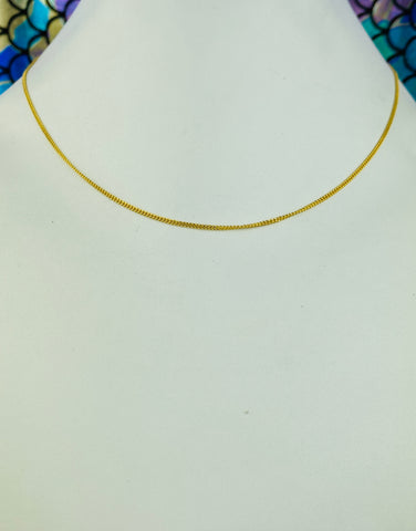 22k Chain Solid Gold Ladies Jewelry Simple Thin Curd Design C0258 - Royal Dubai Jewellers