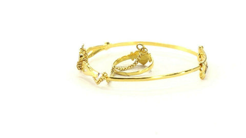 22k Bangle Solid Gold Simple Plain Two Tone Bangle with Ring Set cb1302