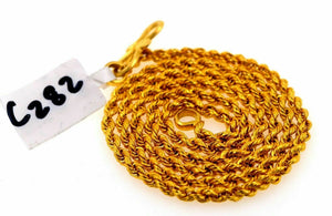 "22k Chain Jewelry Yellow Gold Rope Chain hollow Modern Design Necklace 18"" mf"