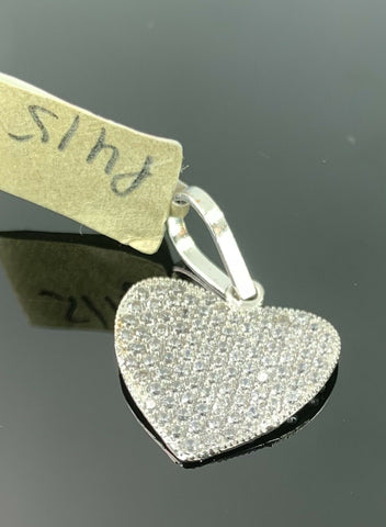 18k Pendant Solid Gold Elegant Simple Heart Shape Stone Encrusted Design P415