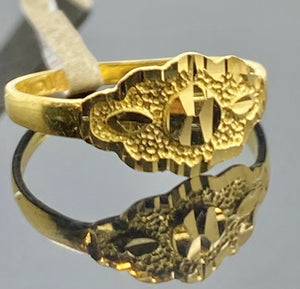 22k Ring Solid Gold Children Jewelry Simple Geometric Design R2183z