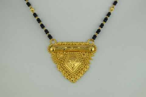 22k Mangalsutra Solid Gold Traditional Ladies Filigree Necklace Design C3070