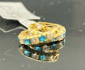 22k Earring Solid Gold Ladies Jewelry Simple Hoops With Aqua Color Stone E8051