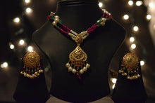 22k Necklace Set Solid Gold Ladies Classic Multi Color Stone Design LS150 - Royal Dubai Jewellers