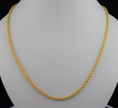 22k Chain Solid Gold Elegant Simple Rope Link Design C0145