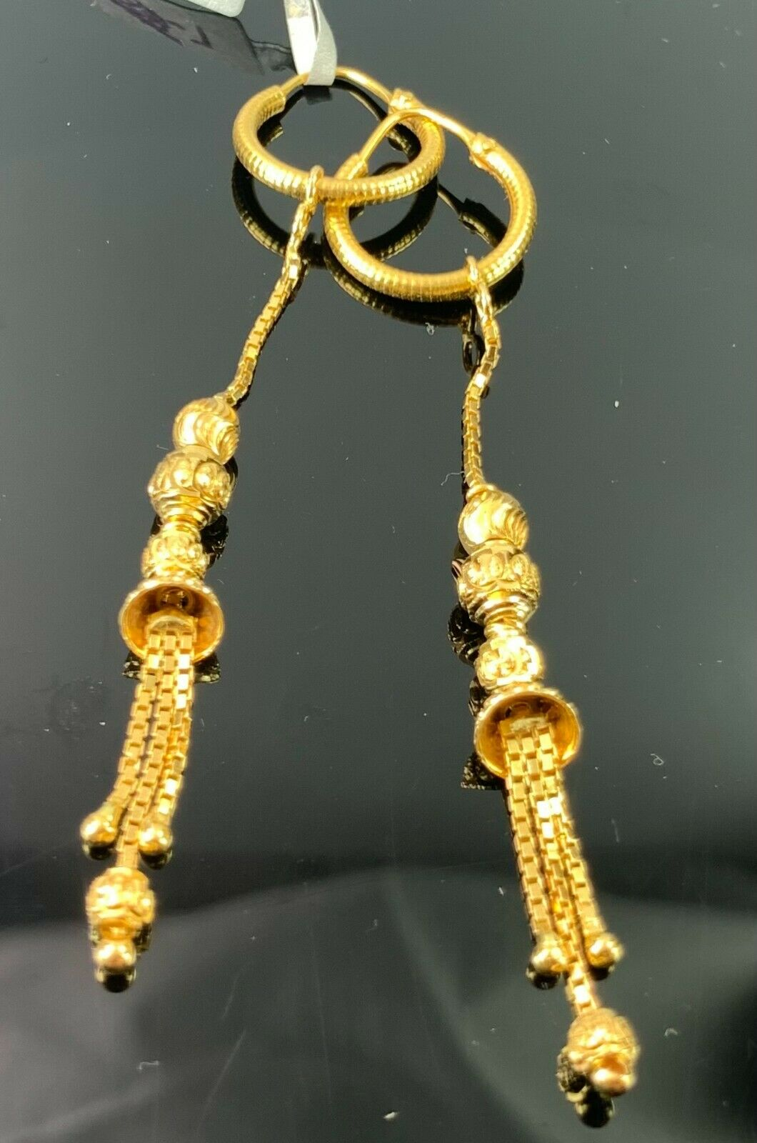 22k Earrings Solid Gold Ladies Jewelry Simple Hoops with Dangle and Drop E3856