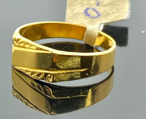 22k Ring Solid Gold Children Jewelry Simple Geometric Design C3479 - Royal Dubai Jewellers