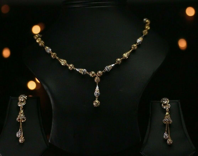 22k Beautiful Solid Gold Classic Two Tone Beads Necklace Set For Ladies LS271