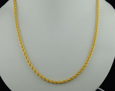 22k Chain Solid Gold Elegant Simple Rope Link Design C0143