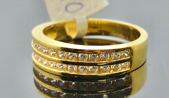 21k Ring Solid Gold Men Jewelry Modern Double Channel Stone Design R2162